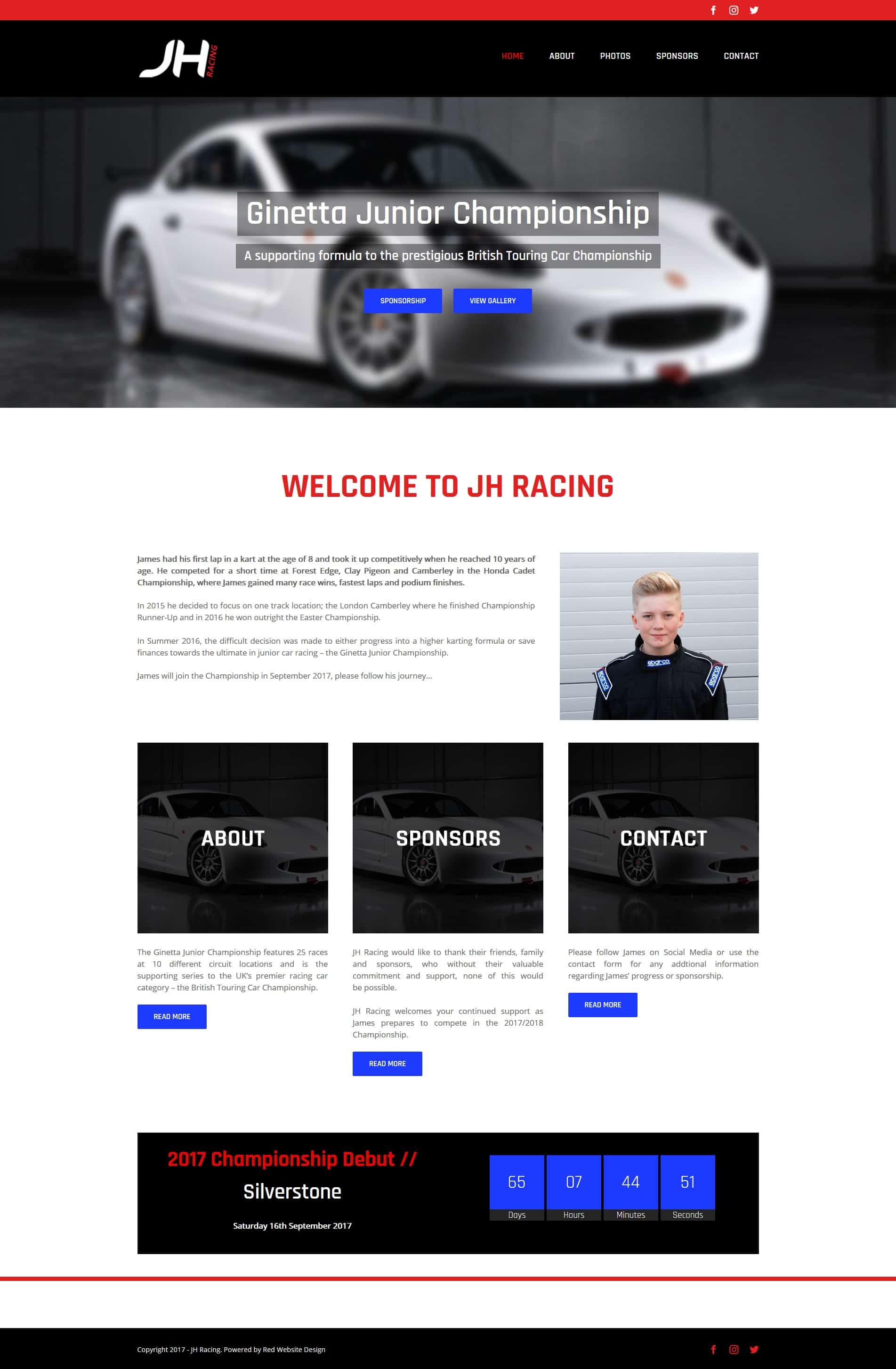 Racing Driver Website Design